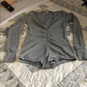 Long sleeve gray shirt bodysuit